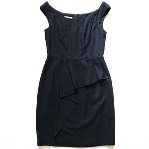 Kay Unger Sheath Dress 8 Navy Blue Sleeveless MINT